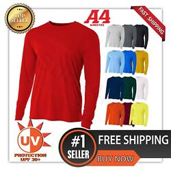 A4 Men's Moisture Wicking  Tech Long Sleeve Resistant T-Shirt. N3165 UPF 44+ UV  $11.75