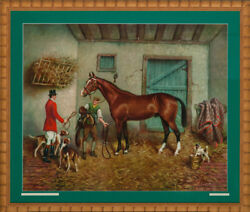 Richard Newton Jr 1874-1951 Foxhunter In A Stall Hand-color Framed Plate C1946