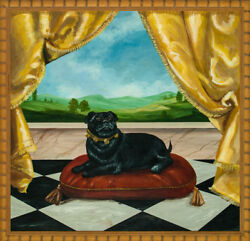 Original Oil On Board Of A And039pampered Pug Dogand039 Now In A Chic Bamboo Frame
