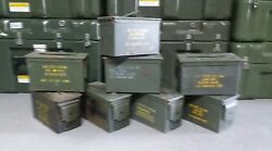 US Military Surplus Steel Ammo Can 50 CAL M2A1 LOT OF 8 Airtight 12x6.5x7.5