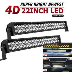 2x 24inch 560w Led Light Bars Cree Combo Beam For Jeep Suv Atv Offroad Driving
