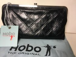 NWT Women's Hobo Lauren Leather Double Frame Clutch Wallet Black quilted Dustbag