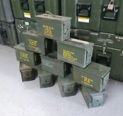 US Military Surplus 50 CAL Ammo Can LOT OF 10 Airtight Steel 12x6.5x8 FREE SHIP
