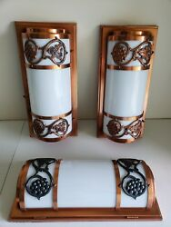 Awesome Pair Of Vintage Copper And Milk Glass Sconces With Grapes Plus Ceiling