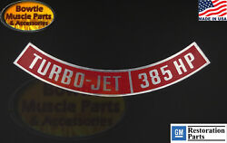 1967 67 Impala Caprice Bel Air Biscayne Chevy Turbo-jet 385hp Air Cleaner Decal