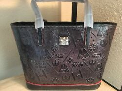 New Disney Dooney and Bourke Star Wars Black Leather Shopper Tote Embossed NWT