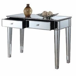 Convenience Concepts Gold Coast Mirrored Glass Desk Vanity- Weathered Gray Wood