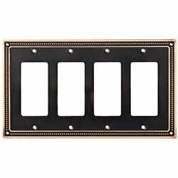 W35069-VBC-C Classic Wall Plates Beaded Quad Decorator Switch Cover Bronze With