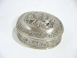 6 In European Silver Gilded Interior Antique Dutch Playing Cards Scene Oval Box
