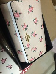 Coach Beechwood Floral Bloom Foldover Wallet Phone Crossbody Clutch Leather NEW