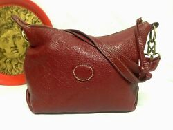 ROOTS CANADA LARGE RED PEBBLES SOFT LEATHER CROSSBODY SHOULDER BAG