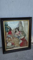 Antique Wool Silk Needlepoint Steel Beads Opera Bible Figural Allegory Tapestry