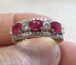 Incredible 14k Wg Ruby And Diamond Ring For Man Or Woman Size 10 Make Offer