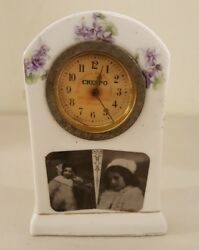 Antique Working 19th C. Porcelain Crespo Mechanical Wind-up Advertising Clock