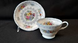 Shelley Crochet England Blue Trim Cup And Saucer