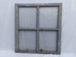 Antique Industrial Window Chicken Wire Factory Privacy Glass Vtg 39x36 76-18J