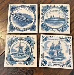 Vintage Blue White Delft Style Holland Tiles Coasters Holland America Line Lot 4