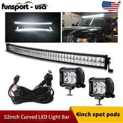 Curved 52inch Led Light Bar 700w Combo+2x 4'' Pods Suv 4x4 Boat +harness Offroad