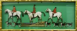 Trio Of Fox-hunters W/ 6 Hounds By Lionel Edwards Hand-painted Woodcuts