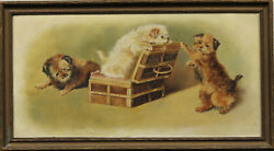 Trio of Terrier Puppies Oil on Board Signed: 'MCH'