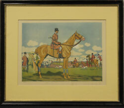 Maurice Taquoy 'french Hunt Meet' C1905 Hand-colour Framed Plate