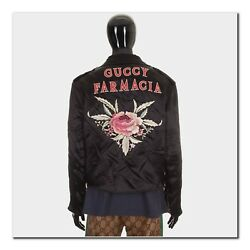 GUCCI 4500$ Authentic New Black Washed Guccy Farmacia Embroidered Biker Jacket