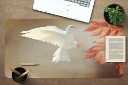 3d White Dove Leaf 52 Non-slip Office Desk Mouse Mat Large Keyboard Pad Mat Game