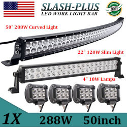 Curved 50inch 288w Combo Led Light Bar+22inch 120w +4pcs 4'' 18w Pods Truck Ford