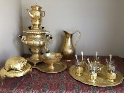 Gold Plated Persian Samovar With Tea Pot, Sugercube/teacupholder, Tray.......