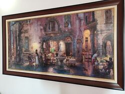 """Cao Yong """"pretty Life In Monterosso"""" Framed 24x48 Hand Embellished And Numbered"""