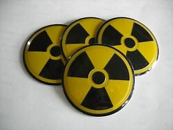 Radiation Nuclear Wheel Center Cap Emblems Set 4 Aluminum Stickers Decal Coned