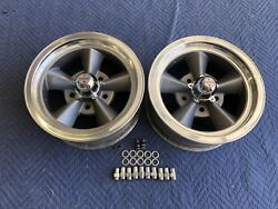 Vintage Pair 2 Of 5 Spoke Torque Thrust Style 14x6 4 3/4 Chevy Pontiac Hotrod