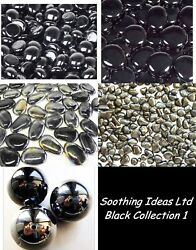 Black Collection Marbles Polished River Stone Pebble Home Garden Memorial Craft