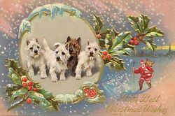 West Highland Terrier Dogs 1930s A Wardle New LARGE Blank CHRISTMAS Note Cards