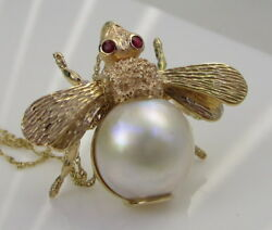 Estate Vintage Gorgeous Large 14k Yellow Gold Red Ruby Bee Mabe Pearl Necklace