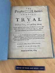 V Rare, Tyral Of William Penn - 1670 First Edition 2nd State