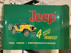 Jeep Vintage/retro 2 Sided Spinning Wall Mount Advertising Sign With Bracket