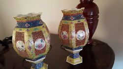 A Pair Of Antique Chinese Porcelain Famille Verte Wedding Lamps Lanterns