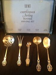 Lunt Sterling Silver Chippendale Hostess Set 5 Piece Wedding Bridal Gift