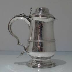 18th Century Antique Georgian Sterling Silver Tankard & Cover London 1789 Hest