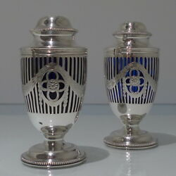 20th Century Antique George V Sterling Silver Pair Sugar Casters London 1911