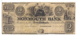 1848 The Monmouth Bank, Freehold, Nj - Two Dollar Obsolete Note No.47