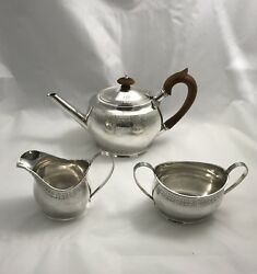 Antiques Sterling Silver Three Piece Tea Set