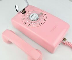 Professionally Restored Antique Telephone W/ Rotary Dial / Mod Back - 554- Pink