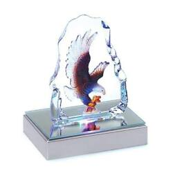 Gifts & Decor Bald Eagle Crystal Figurine Sculpture with LED Light New