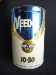 Vintage Veedol Flying A Motor Oil 5 Quart Tin Oil Can Nice One
