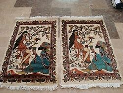 New Awesome Umre Khayam Love Hand Knotted Rug Wool Silk Carpet Pair 3 X 2and039
