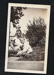 Antique Photograph Little Boy & Dad w Cute Puppy Dog on Wall - Boston Terrier?