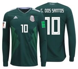 Adidas Giovani Dos Santos Mexico Long Sleeve Home Jersey World Cup 2018 Patches
