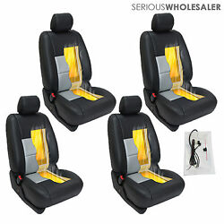 Carbon Fiber Universal Car Heated Seat Heater Kit Cushion - Round Switch 4 Seats
